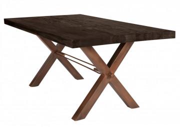 Masa dreptunghiulara cu blat din lemn de stejar Tables & Benches 220 x 100 x 76 cm gri carbon/maro