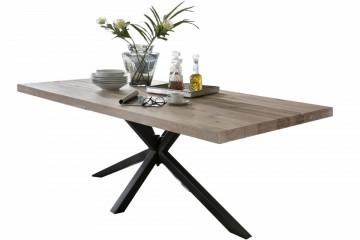 Masa dreptunghiulara cu blat din lemn de stejar Tables & Benches 220 x 100 x 76,5 cm maro deschis/neagra
