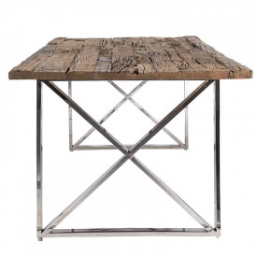 Masa dreptunghiulara cu blat din lemn de tec reciclat Kensington 75x200x100 cm
