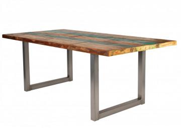 Masa dreptunghiulara cu blat din lemn de tec reciclat Tables & Benches 220 x 100 x 76,5 cm multicolor/argintiu