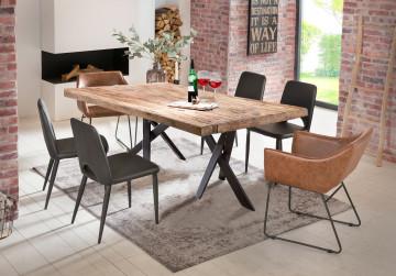 Masa dreptunghiulara din lemn de tec si cadru metalic negru 240x100 cm