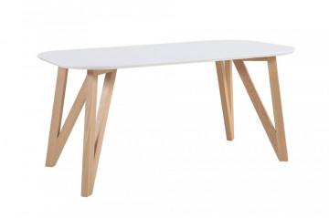 Masa ovala din lemn 200x90x76 cm alba/maro