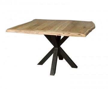 Masa patrata cu blat din lemn 150x150x78 cm maro deschis/ negru