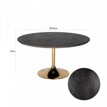 Masa rotunda cu blat din lemn de stejar Blackbone 77 x 140 x 140 cm negru/auriu