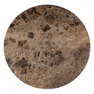 Masa rotunda cu blat din marmura Orion 75 x 140 x 140 cm maro/negru