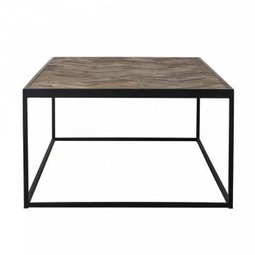Masuta de cafea dreptunghiulara din stejar si metal Herringbone 140x70x40 cm negru/maro