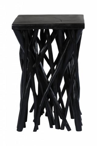 Masuta de cafea patrata din lemn de tec Radix 40x40x60 cm neagra