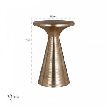 Masuta de cafea rotunda din aluminiu Booker 74x33x33 cm aurie