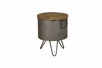 Masuta de cafea rotunda din lemn si metal 32x32x40 cm maro