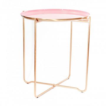 Masuta de cafea rotunda din metal Chloe 50,5x50,5x56,5 cm roz/cupru