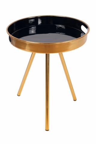 Masuta de cafea rotunda din metal Morrison 38x38x44,5 cm albastru inchis/auriu