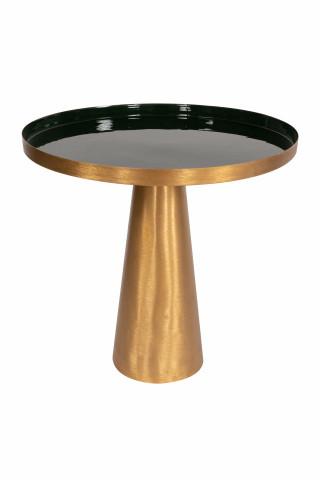 Masuta de cafea rotunda din metal Morrison 51x51x50 cm verde inchis/auriu