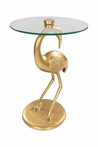 Masuta de cafea rotunda din sticla Animality 40x40x58 cm transparenta/auriu