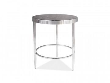 Masuta de cafea rotunda din sticla Aurora 48 cm maro / argintiu