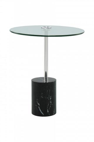 Masuta de cafea rotunda din sticla si marmura Rosario 44x44x50 cm transparenta/negru/argintiu