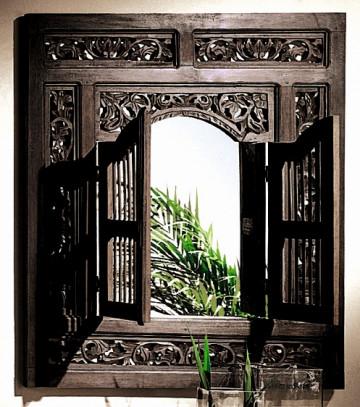 Oglinda cu rama din salcam maro SAMBA, 80 x 5 x 90 cm