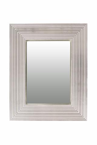Oglinda dreptunghiulara cu rama din polistiren alba/argintie Harper, 44,8cm (L) x 35,8cm (L) x 1,8cm (H)