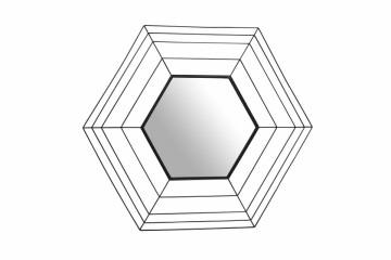 Oglinda hexagonala cu rama din metal neagra Romeo, 1.5cm (L / D) x 69cm (W) x 79.5cm (H)