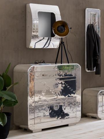Oglinda hublou cu rama din MDF/aluminiu AIRMAN, 47,5 x 17 x 65 cm