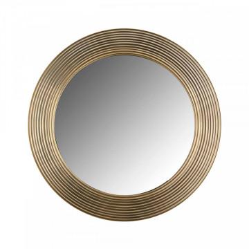 Oglinda rotunda cu rama din aluminiu maro alama Montel, 41 x 41 x 2,5 cm