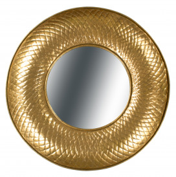 Oglindă rotunda cu rama din fier aurie Cleo 10x92x92 cm