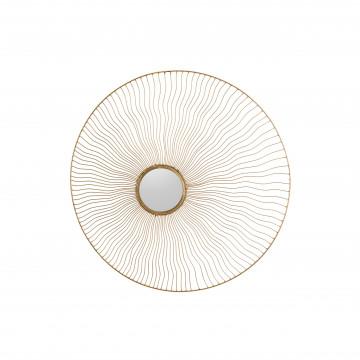 Oglindă rotunda cu rama din fier aurie Miana 2x68cx68 cm