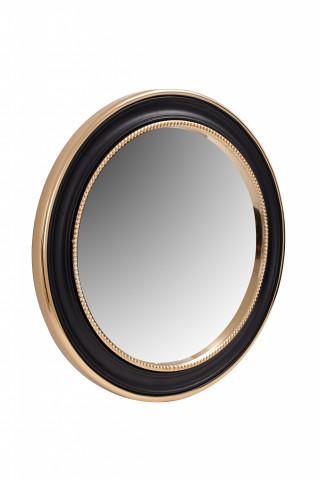 Oglindă rotunda cu rama din fier si MDF negru/auriu 4x58x58 cm