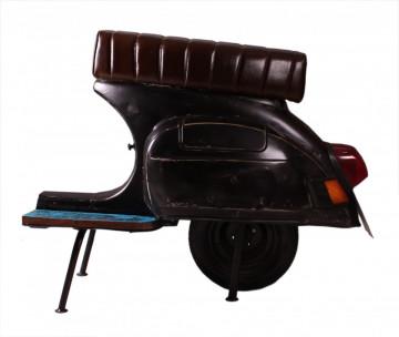 Scaun de bar scuter din imitație de piele This & That negru
