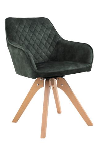 Scaun rotativ din velur cu cadru din lemn de fag verde