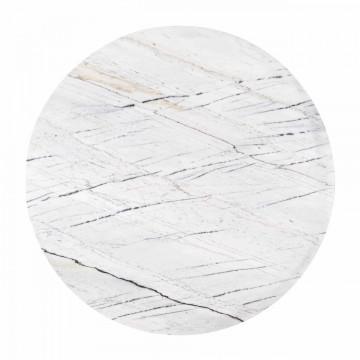 Set 2 masute de cafea rotunde din marmura si metal Lexington 46x91,5x91,5 cm albe