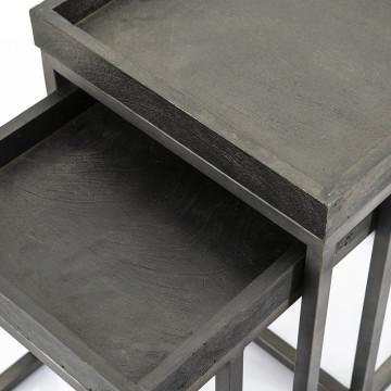 Set 2 masute patrate din lemn de mango Blain 40x40x50 cm negre