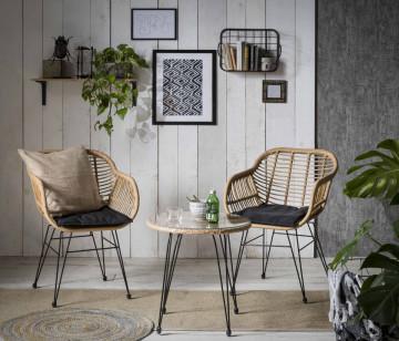 Set 2 scaune cu masa pentru gradina din ratan maro