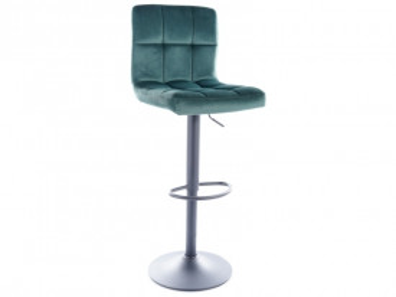 Set 2 scaune de bar din catifea reglabile 65-88 cm verzi
