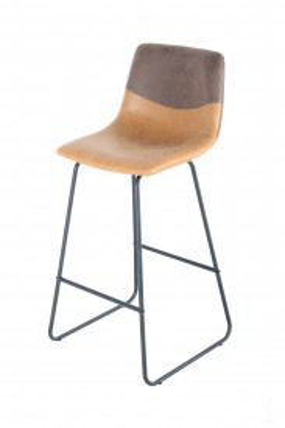 Set 2 scaune de bar din piele Kylie maro/portocaliu