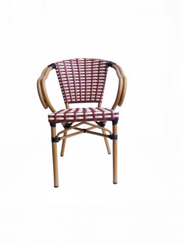 Set 2 scaune din poliratan cu cadru din aluminiu Sit&Chairs rosu/bej