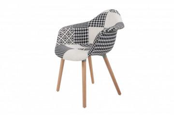 Set 2 scaune tapitate Dave negru/alb