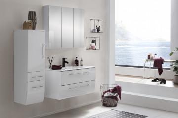 Set 3 piese mobilier din MDF pentru baie albe 90 cm