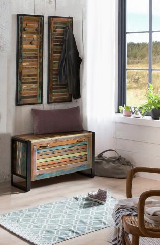 Set 3 piese mobilier pentru hol din lemn Fiume multicolor
