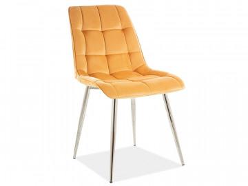 Set 4 scaune din catifea Chic galben/crom