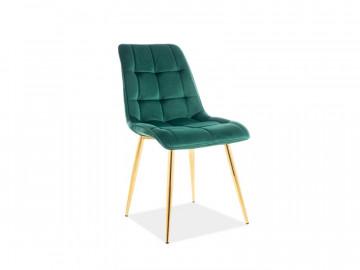 Set 4 scaune din catifea Chic verde / auriu