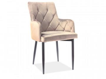 Set 4 scaune din catifea Ricardo bej / negru