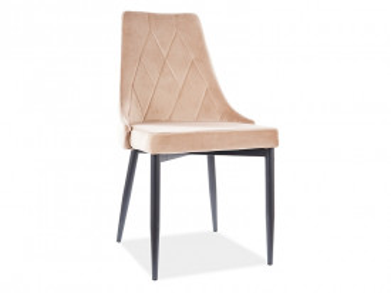 Set 4 scaune din catifea Trix bej / negru