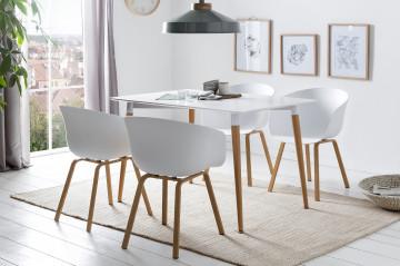 Set masa dreptunghiulara din MDF cu 4 scaune 120x80 cm albe