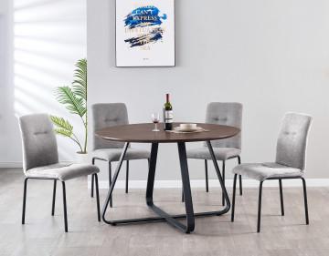 Set masa rotunda din MDF cu 4 scaune tapitate 120x120x76 cm/44,5x55x5x87 cm maro/gri deschis