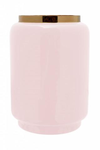Vaza din fier Art Deco, roz / auriu 14,5x14,5x20 cm