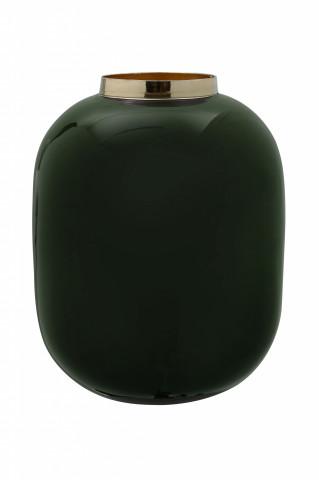 Vaza din fier Art Deco, verde închis / auriu 16,5x16,5x20 cm