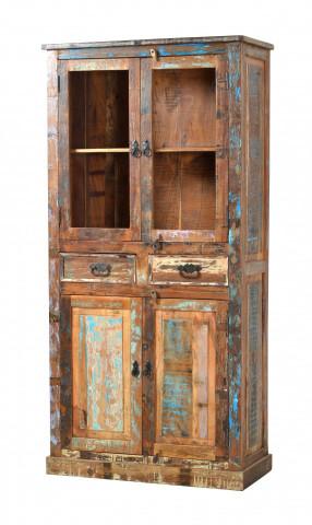 Vitrina din lemn Riverboat, 4 usi si 2 sertare