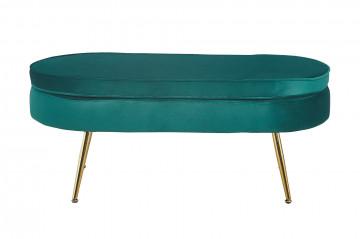 Bancheta ovala din catifea verde