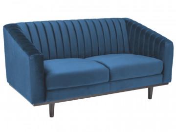Canapea din catifea Asprey albastra, 2 locuri