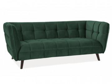 Canapea din catifea Castello verde, 3 locuri